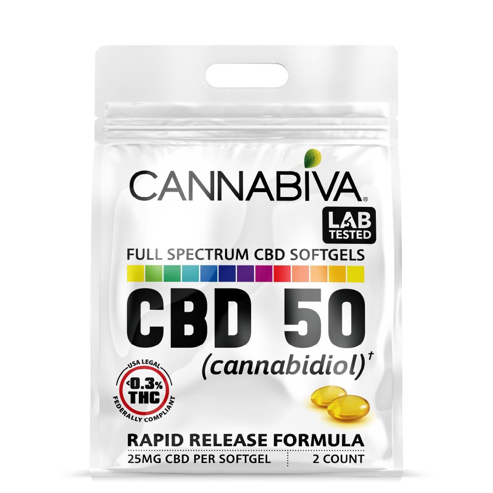 Full Spectrum CBD-50 Softgels - Quick Pack - 25mg Per Capsule - Front