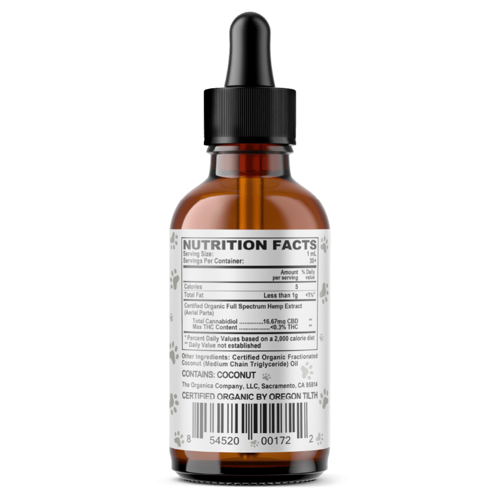 Vet CBD Oil - 500mg Full Spectum For Small Dogs and Cats - USDA Organic - Facts Label