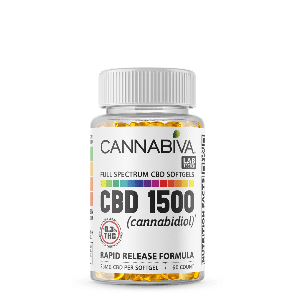 Full Spectrum CBD Softgels - Cannabiva 1500MG - 60 Capsules With 25mg Per Supplement - Bottle
