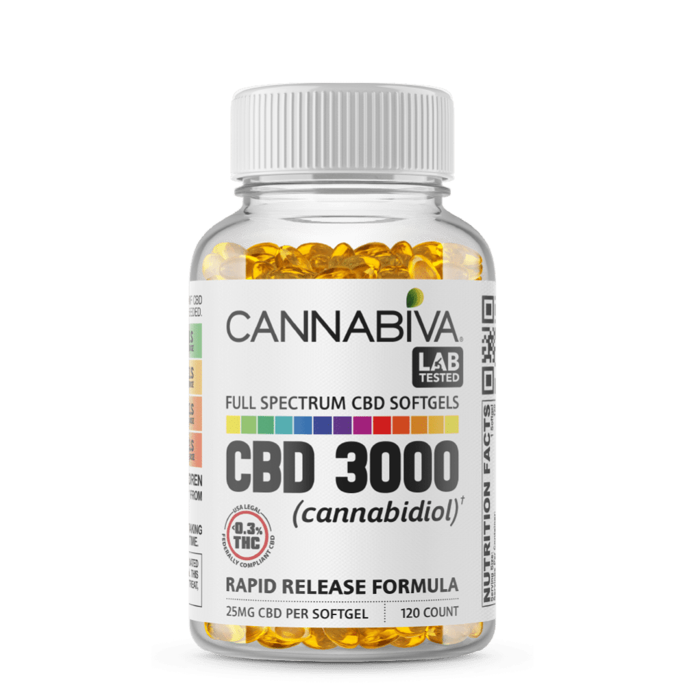 Full Spectrum CBD Softgels - Cannabiva 3000MG - 120 Capsules With 25mg Per Supplement - Bottle