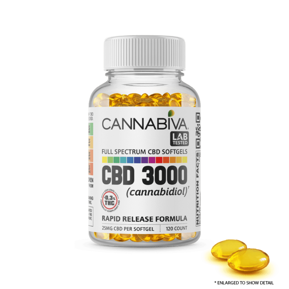 Full Spectrum CBD Softgels - Cannabiva 3000MG - 120 Capsules With 25mg Per Supplement - Capsule Zoom