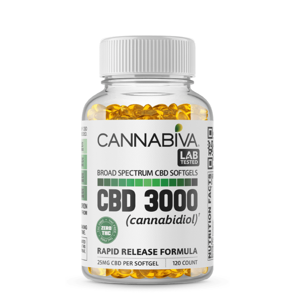 Broad Spectrum CBD Softgels (0% THC) - Cannabiva 3000MG - 120 Capsules With 25mg Per Supplement - Bottle