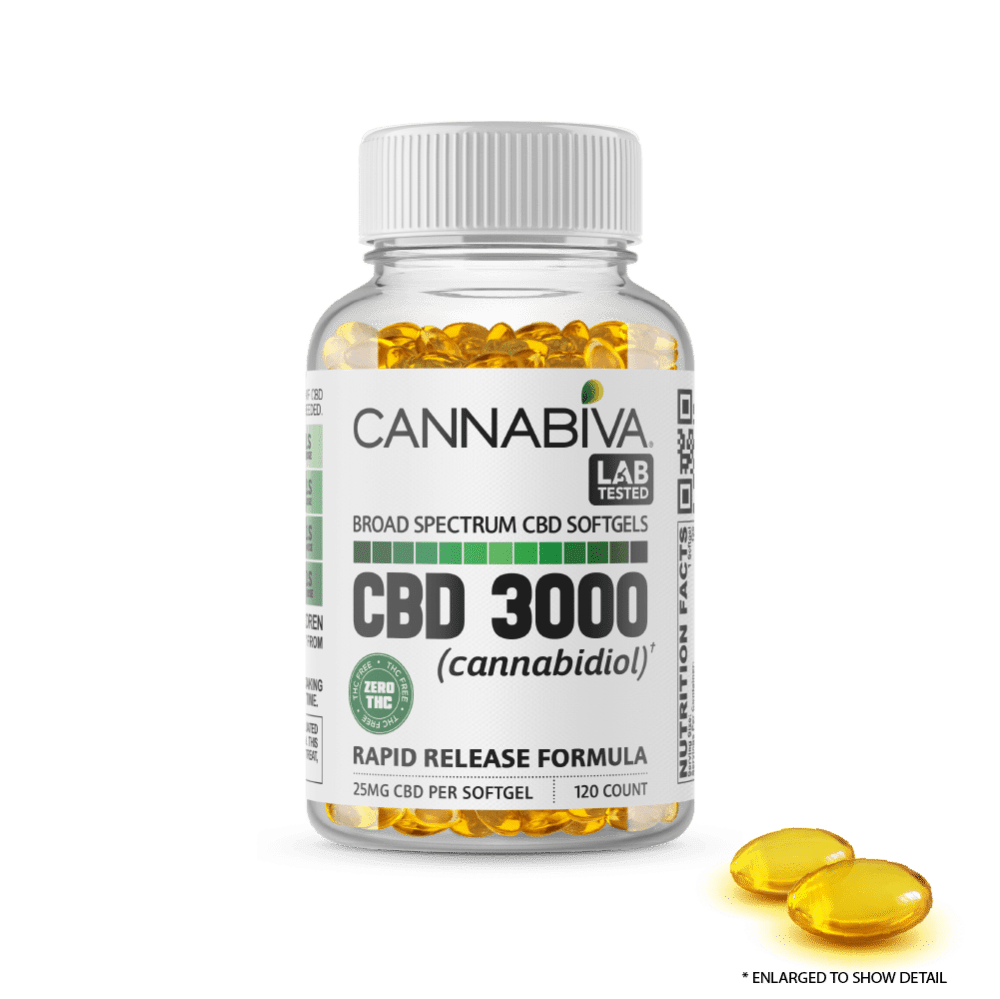 Broad Spectrum CBD Softgels (0% THC) - Cannabiva 3000MG - 120 Capsules With 25mg Per Supplement - Bottle with Capsule Zoom