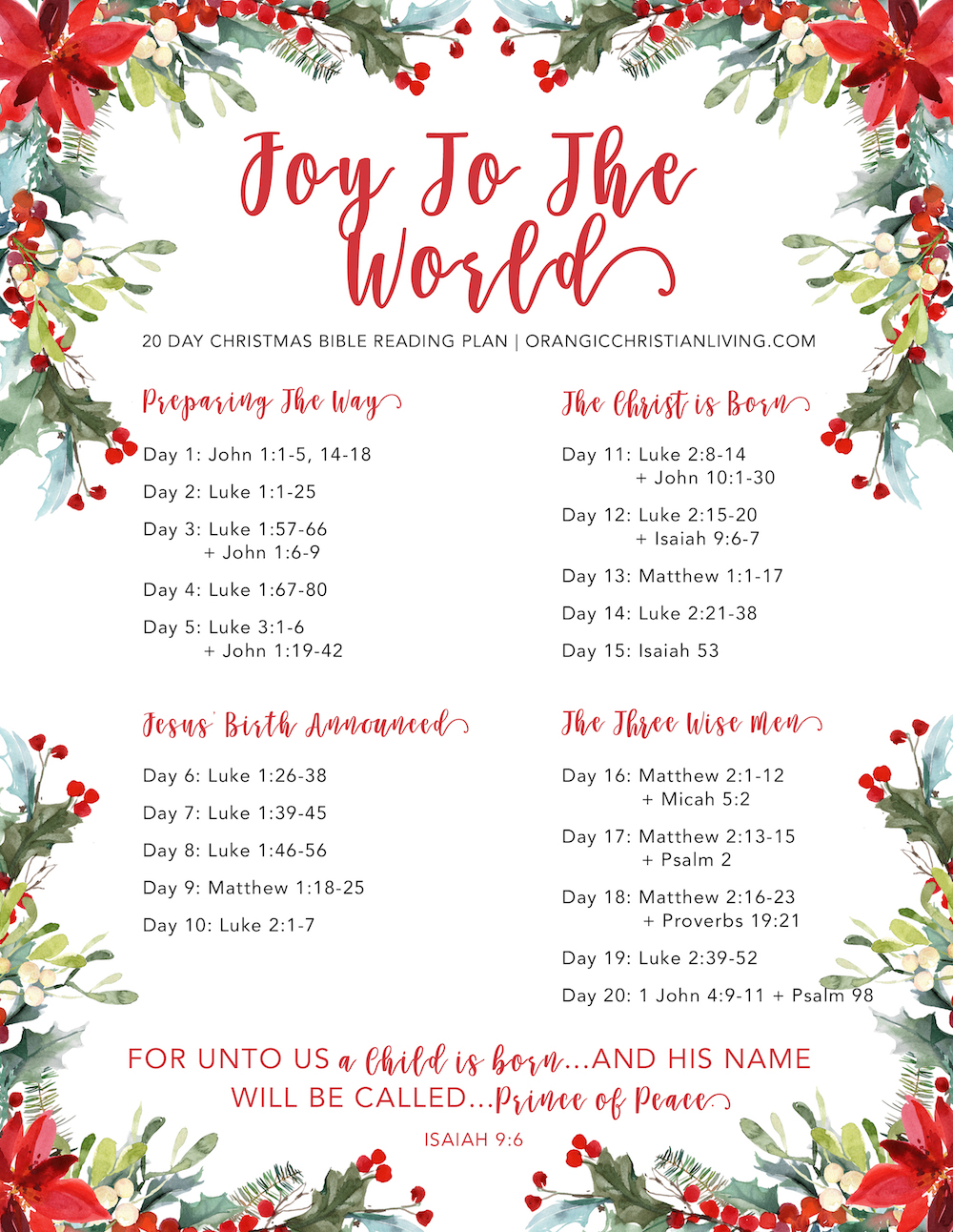 Christmas Bible Reading Plan: Joy To The World | Organic Christian ...