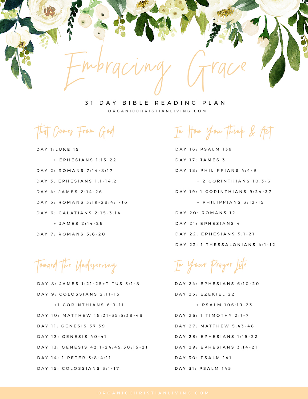 graphic regarding Printable Bible Reading Plans for Youth called Embracing Grace Bible Reading through System Organic and natural Christian Residing