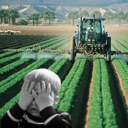 Child covering eyes in a farm field being sprayed with pesticides