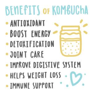 the health benefits of kombucha, in a list