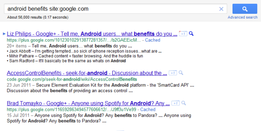 Google can't even provide results for the benefits of ANdroid