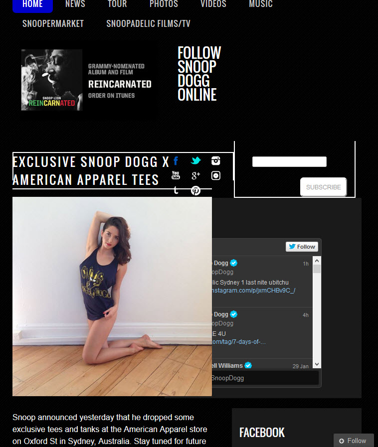 Snoop Dogg's website has responsive design issues
