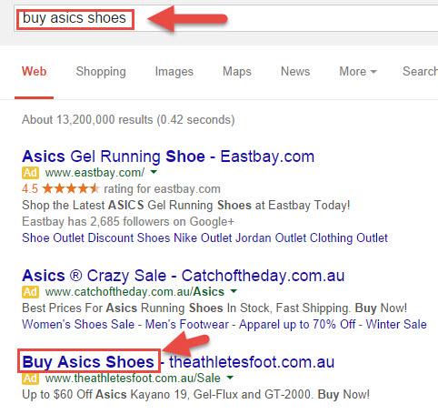 Example of effective Google Adwords advert