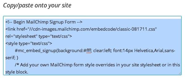 The HTML to add a Mailchimp form to your website