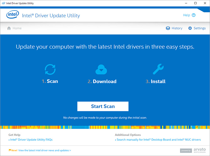 Update Windows 10 Intel drivers and software