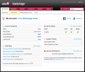 View the Site5 hosting control panel.