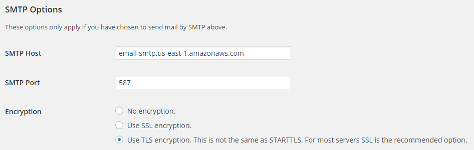 The WordPress Dashboard showing Amazon SES SMTP details