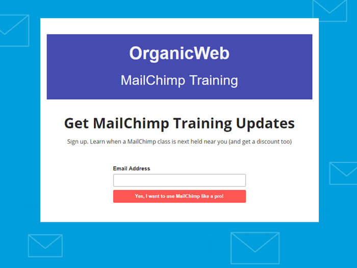 Image of Mailchimp landing page.