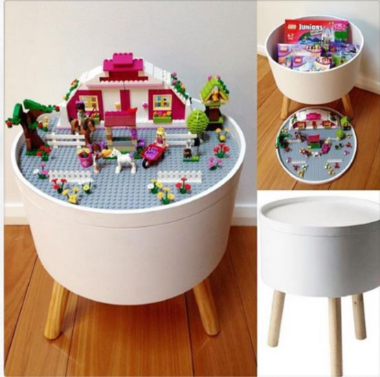 diy lego table using a side table