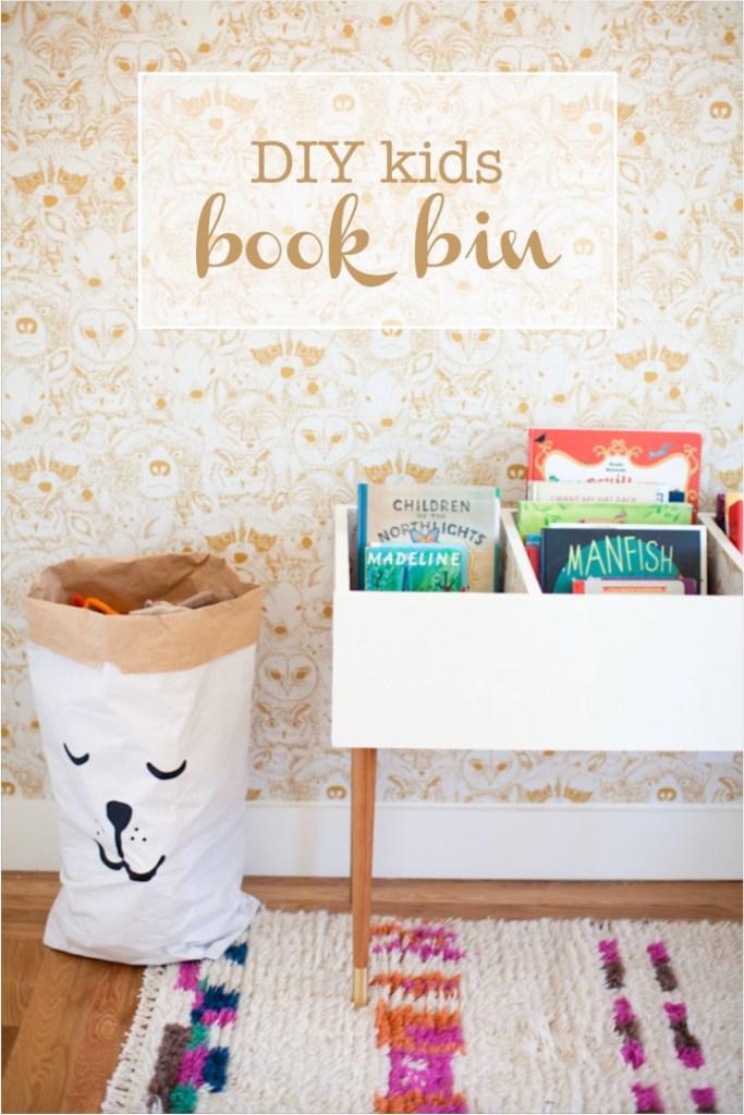 store children's books in a DIY book bin