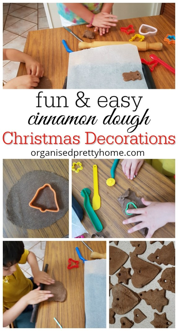 white Christmas decorations with cinnamon dough