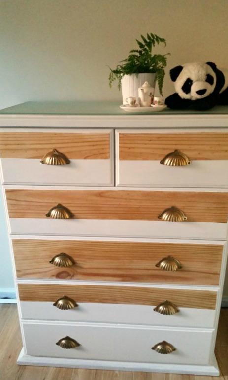 refurbished white and pine girls bedroom dresser