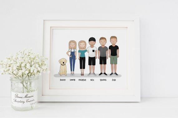 sister gift - custom family portrait