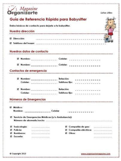 Guía de referencia para niñera o babysitter