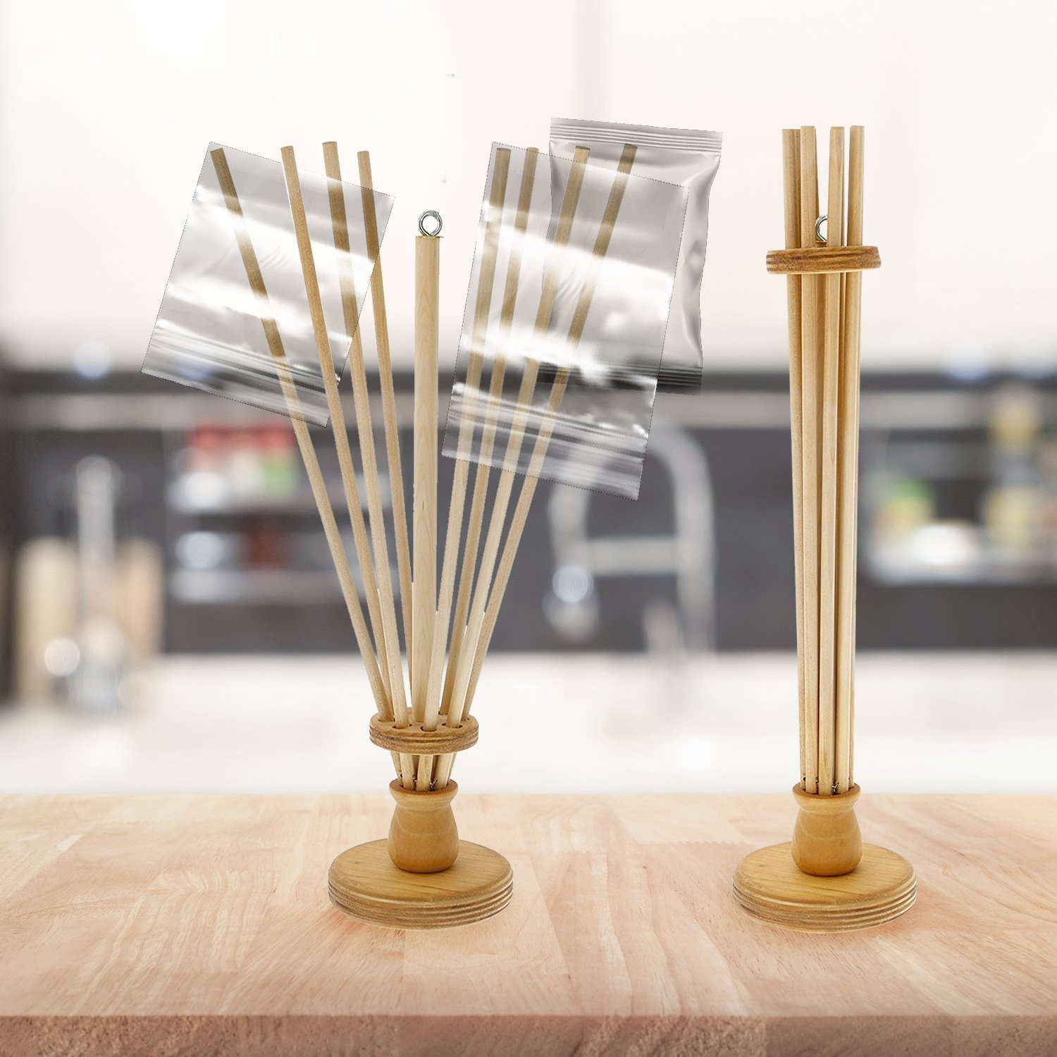 a wooden drying rack for plastic bags