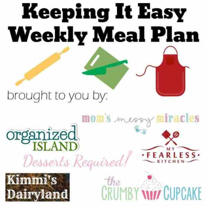 Easy Weekly Meal Plan #13 from My Fearless Kitchen.This week's meal plan includes Bacon Pepperjack Grilled Cheese Sandwiches, Kid-Approved Mini Meatloaves, Pasta Primavera, Mushroom Spinach Chickpea Burger, Roasted Butternut Squash & Cauliflower Salad, Chocolate Nutella Babka, and Fresh Strawberry Muffins.