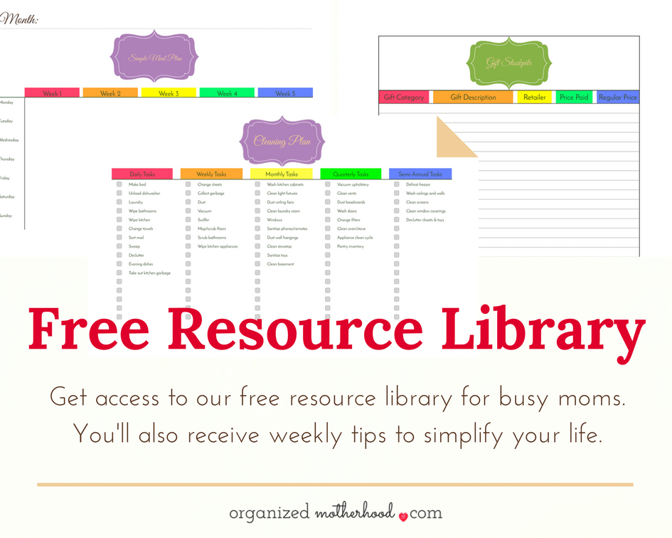 Join the Organized Motherhood community and access to the free resource library, filled with printable cleaning plans, meal planners, and more.