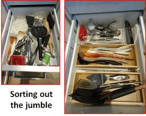 drawer of messy utensils and organized drawer of utensils