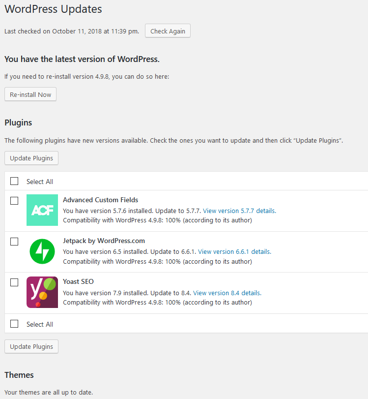 WordPress updates screenshot