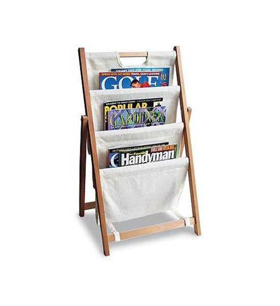 folding canvas magazine stand in floor