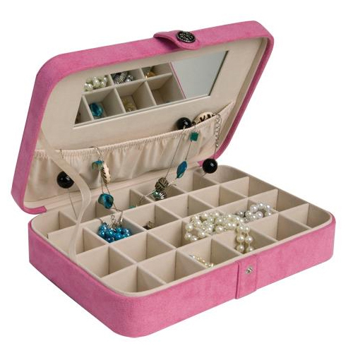Faux Suede Travel Jewelry Case Pink In Travel Jewelry Cases