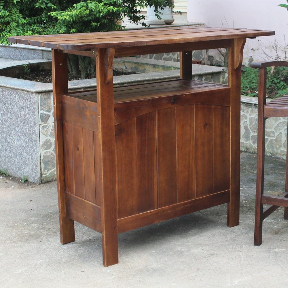 Outdoor Bar Table Solid Wood In Patio Dining Tables