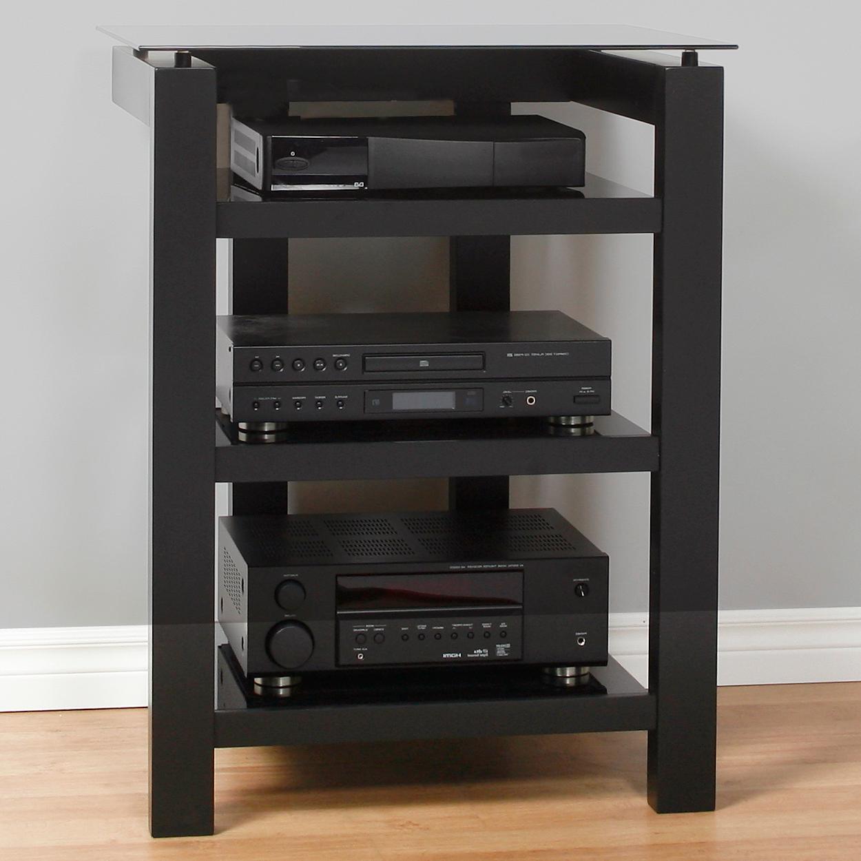 audio component rack in speaker stands