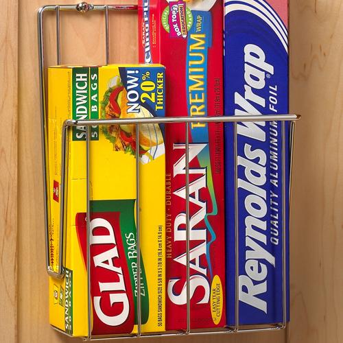 Mounted Kitchen Wrap Organizer Chrome Food Holders