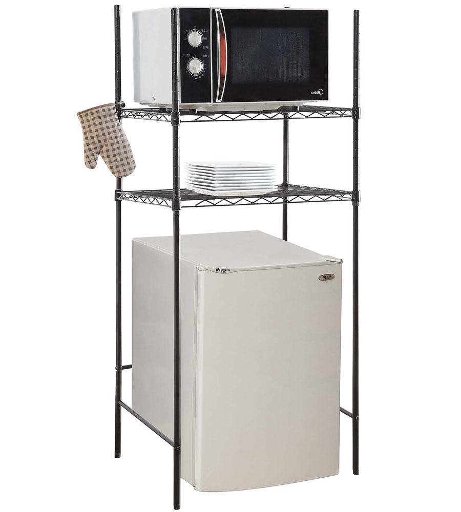 mini fridge and microwave rack in