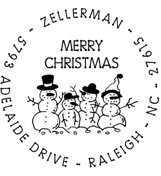 Snow Family Personalized Holiday Address Stamp In Custom