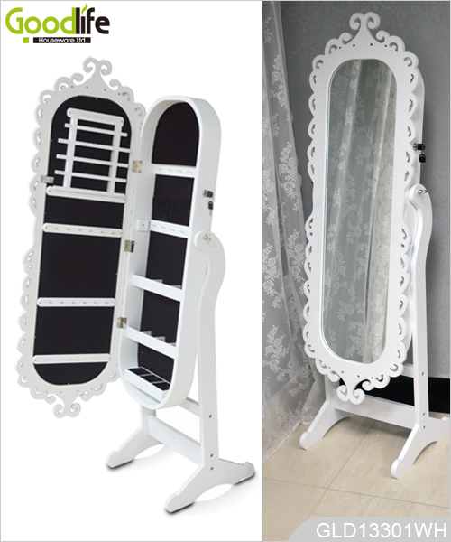 Engraving Frame Oval Wooden Jewelry Cabinet With Full