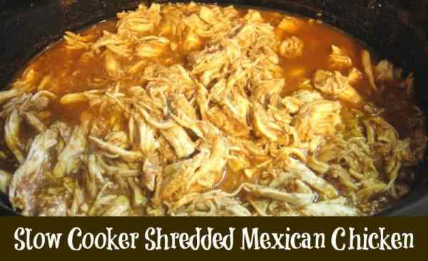 The BEST Slow Cooker Shredded Mexican Chicken Recipe. Make a batch and freeze for future easy recipes.