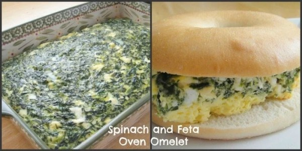 Spinach and Feta Oven Omelett. 6 weight watchers points plus