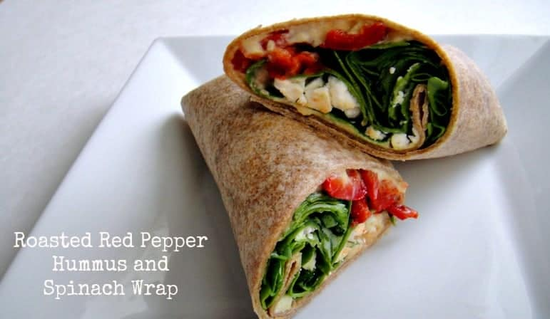 roasted red pepper hummus and spinach wrap
