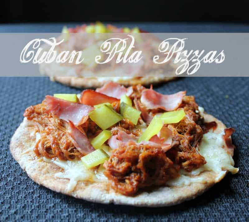 Cuban Pita Pizzas. Easy Pulled Pork Pita Pizza Recipe.