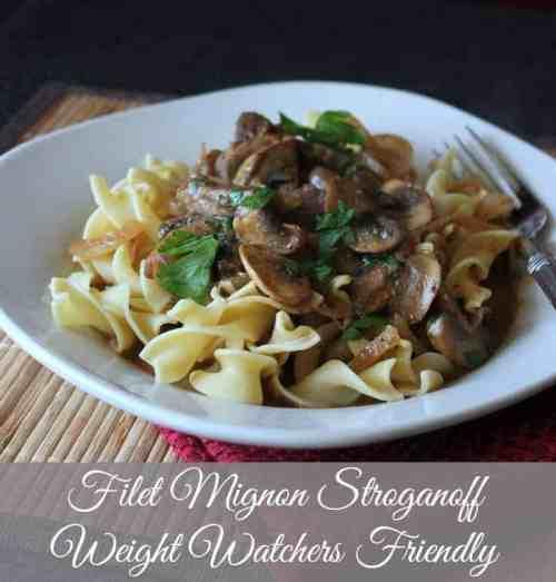 Filet Mignon Stroganoff. Weight Watchers Friendly Recipe