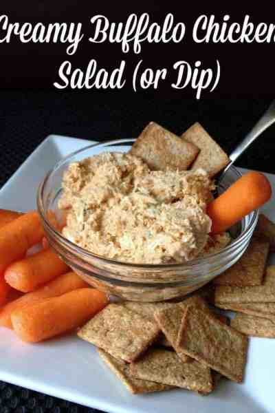 Light and Skinny Slow Cooker Creamy Buffalo Chicken Dip or Salad