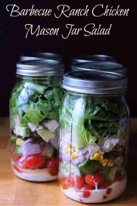 Barbecue Ranch Chicken Mason Jar Salad 363 calories and 9 weight watchers points plus