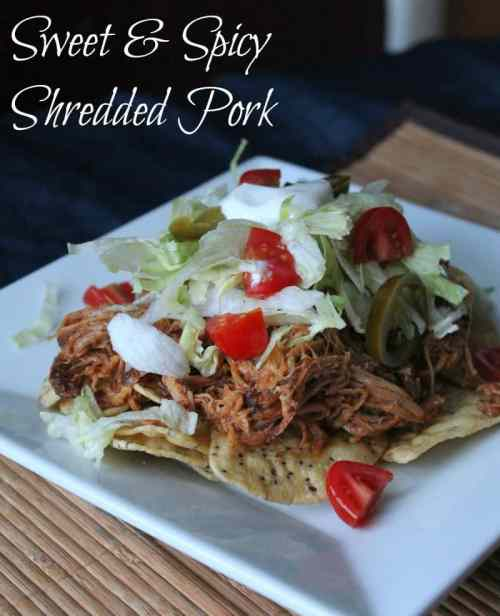 Sweet and Spicy Slow Cooker Shredded Pork Recipe. Freezer meal 145 calories and 4 weight watchers points plus