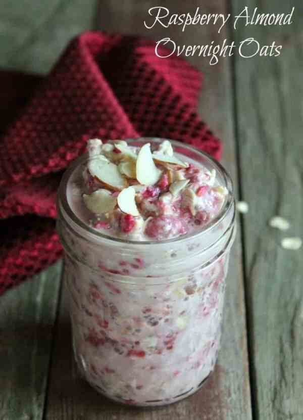 Raspberry Almond Overnight Oats Recipe 322 calories and 8 weight watchers points plus