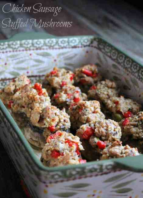 Chicken Sausage Stuffed Mushrooms 126 calories and 3 weight watchers points plus