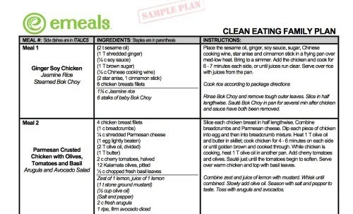 sample family meal plans