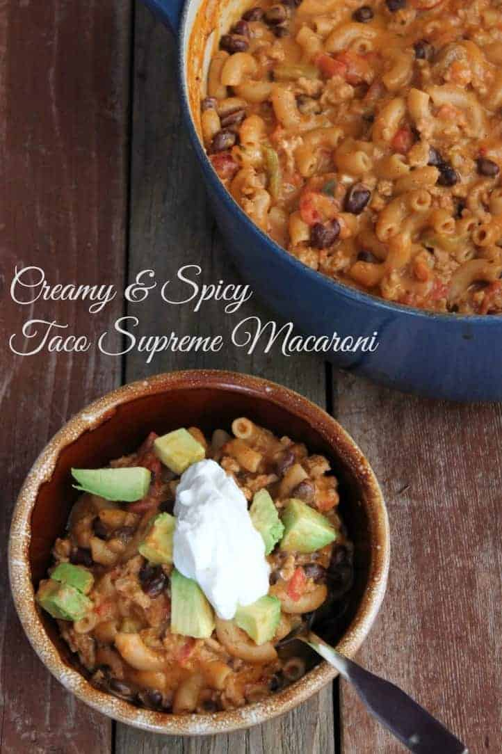 Creamy and Spicy Taco Supreme Macaroni 373 calories and 9 weight watchers points plus